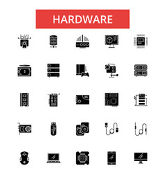 hardware thin line icons linear vector image