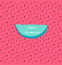 hello summer with abstract watermelon pattern vector image
