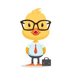 Little cartoon duckling character wearing as vector