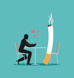 Lover smoke man and cigarette in cafe smoker in vector