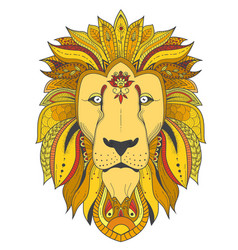 poster with zenart patterned lion vector image vector image