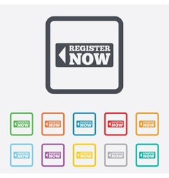 Register now sign icon Join button symbol vector image