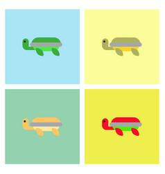 Sea turtle icon set vector