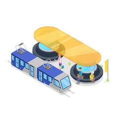 tram stop isometric 3d icon vector image