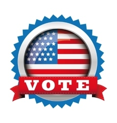 Vote - election badge with usa flag button vector