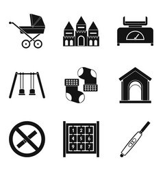 walk with child icons set simple style vector image vector image