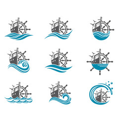 Yacht helm wheel set vector
