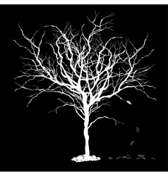 tree silhouette with fallen leaves vector image
