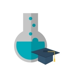Round bottom chemistry flask and graduation cap vector