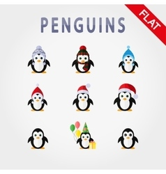 Penguins in different hats vector