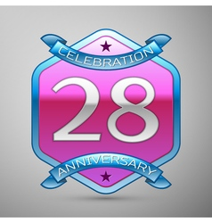 Twenty eight years anniversary celebration silver vector image