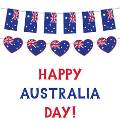 Australia day card with flags and hearts bunting vector