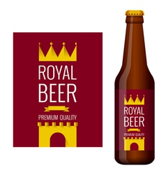 Design of beer label and bottle of beer vector