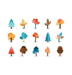 Colored tree icons set vector
