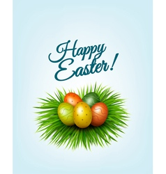 Happy easter background colorful easter eggs in vector