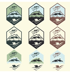 Set of vintage fishing camp labels with salmon and vector