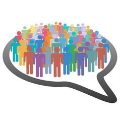 Crowd social media people speech bubble network vector
