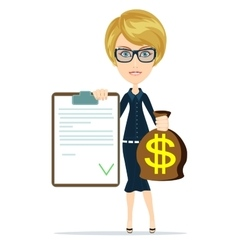 Picture of woman with dollar signed bag vector