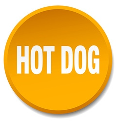 hot dog orange round flat isolated push button vector image
