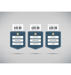 Web pricing table with comparison of business vector