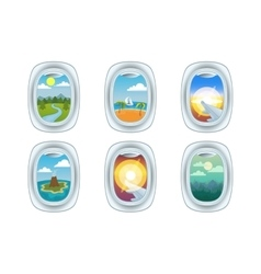 Airplane window view vector