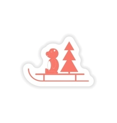 paper sticker on white background Bear sled tree vector image