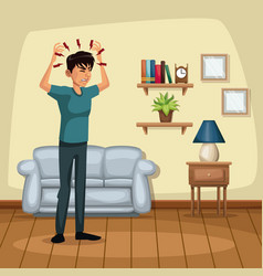 background living room home with headache sickness vector image vector image