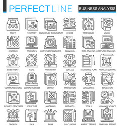 business analytics outline mini concept symbols vector image vector image