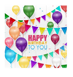 Colorful balloons happy birthday on white backgrou vector