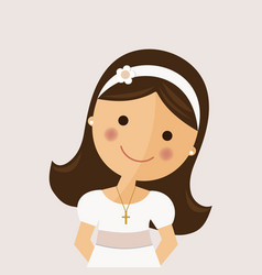 foreground girl with communion dress on ocher vector image vector image