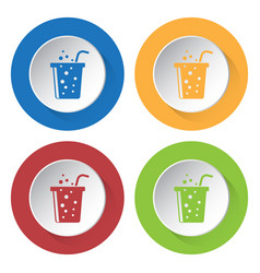 four round color icons carbonated drink and straw vector image vector image