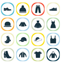Garment icons set collection of dress casual vector