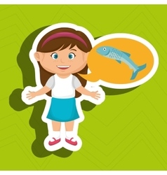 Girl cartoon food fish fresh vector