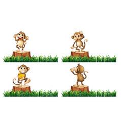 happy monkeys on the stump trees vector image vector image