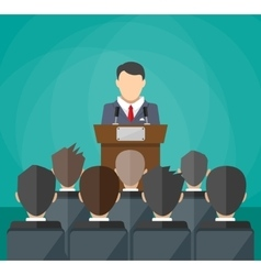 orator speaking from tribune crowd on chairs vector image