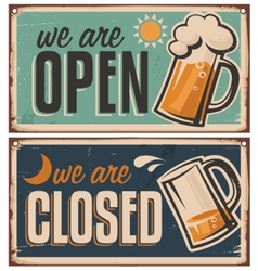 Retro tin door signs set for pub vector