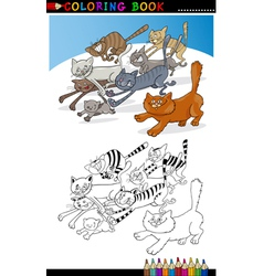 Running Cats for Coloring Book or Page vector image vector image