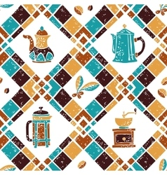 Seamless pattern Argyle and Coffeemakers vector image