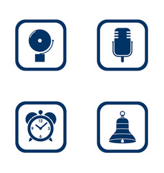 Set of audible icons alarm bell microphone alarm vector