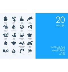Set of blue hamster library water icons vector