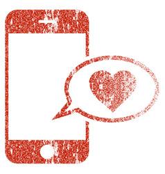 Smartphone love message grunge texture icon vector