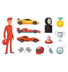 sport cars and different racing icons set engine vector image