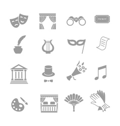 Theater acting icons set black vector image vector image