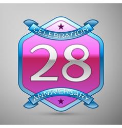 Twenty eight years anniversary celebration silver vector