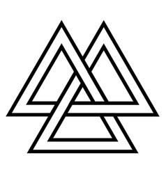 Valknut viking age symbol geometric design vector