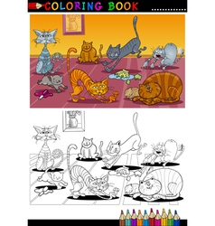 Cartoon cats for coloring book or page vector
