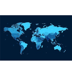 Dark blue detailed world map vector