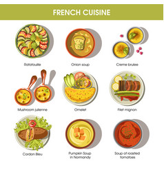french cuisine food dishes for menu vector image