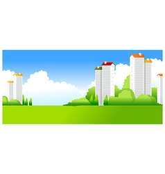 Green landscape with buildings vector