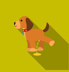 pissing dog icon in flat style for web vector image